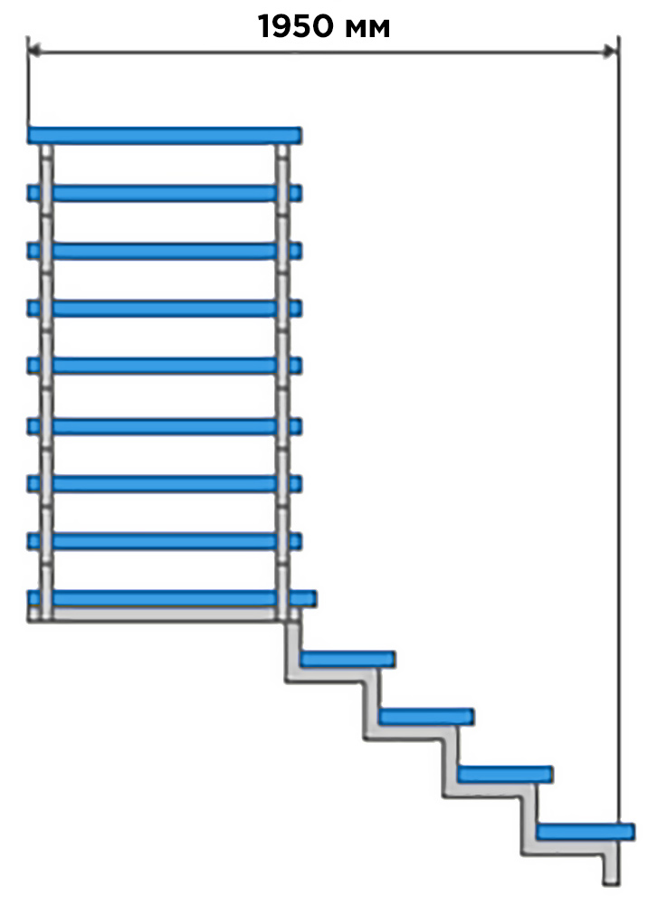 Примерные размеры забежной лестницы