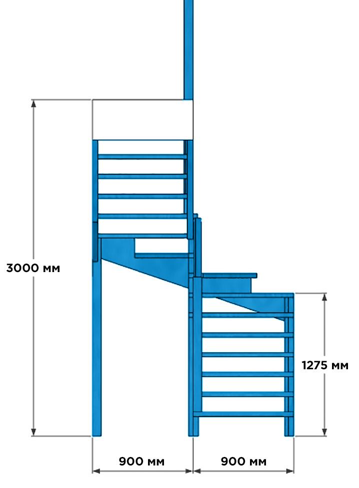 размеры забежной лестницы